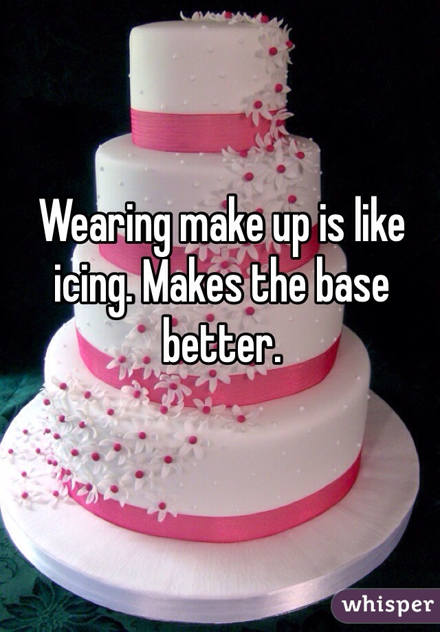 Wearing make up is like icing. Makes the base better.