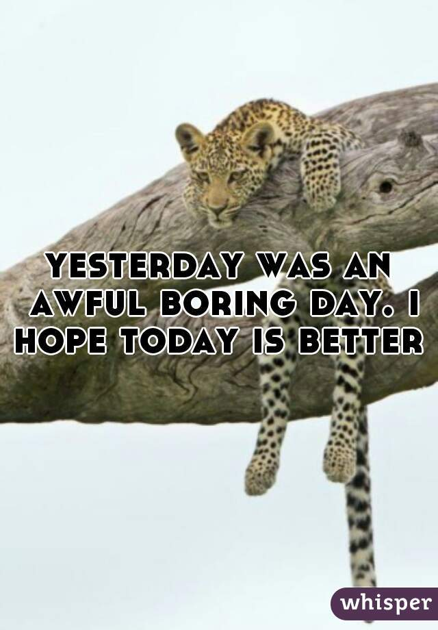 yesterday was an awful boring day. i hope today is better