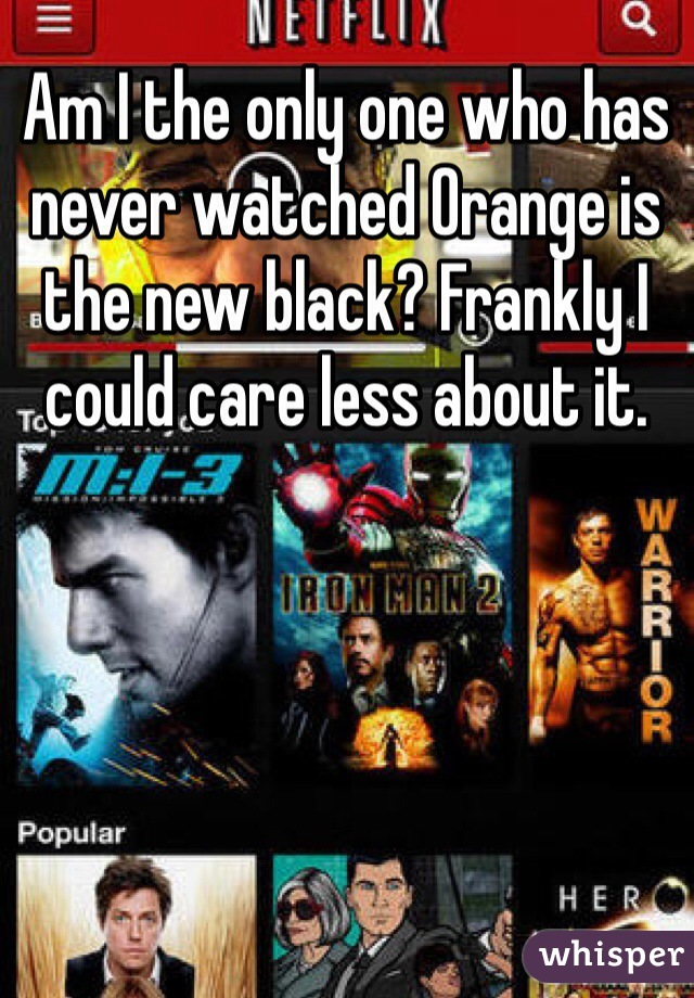 Am I the only one who has never watched Orange is the new black? Frankly I could care less about it.