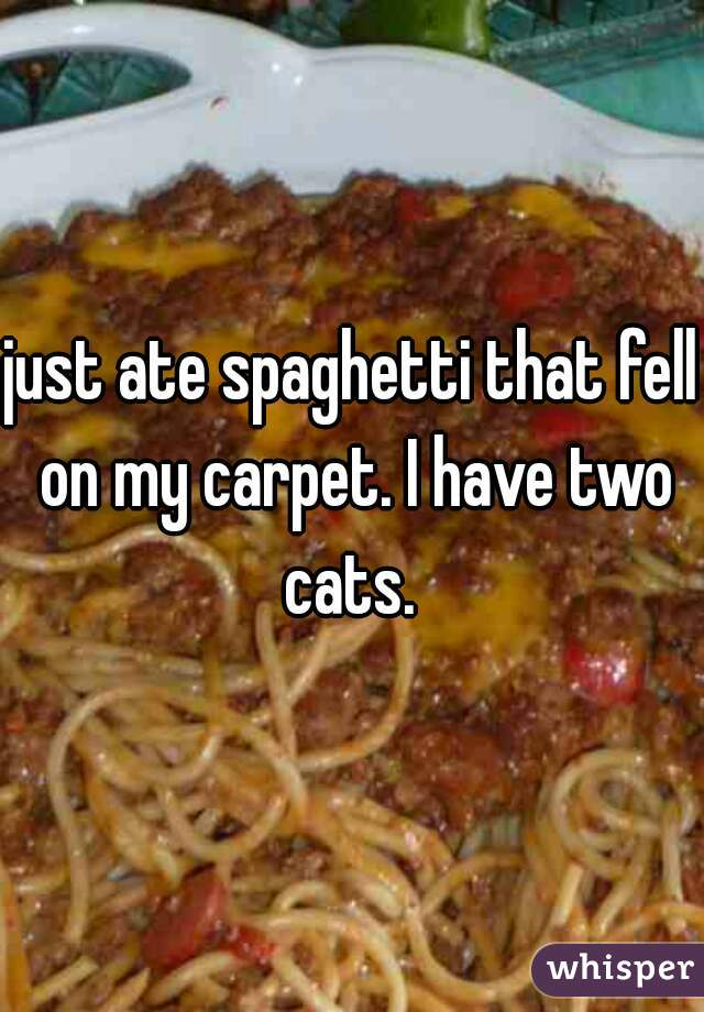 just ate spaghetti that fell on my carpet. I have two cats.