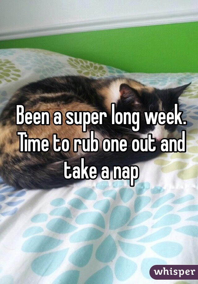 Been a super long week. Time to rub one out and take a nap