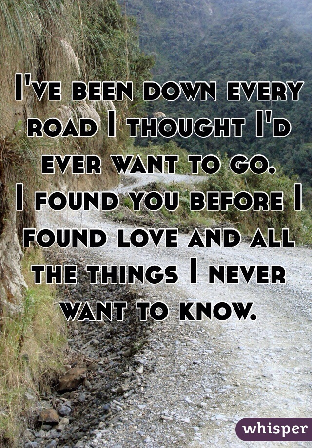 I've been down every road I thought I'd ever want to go. I found you before I found love and all the things I never want to know.
