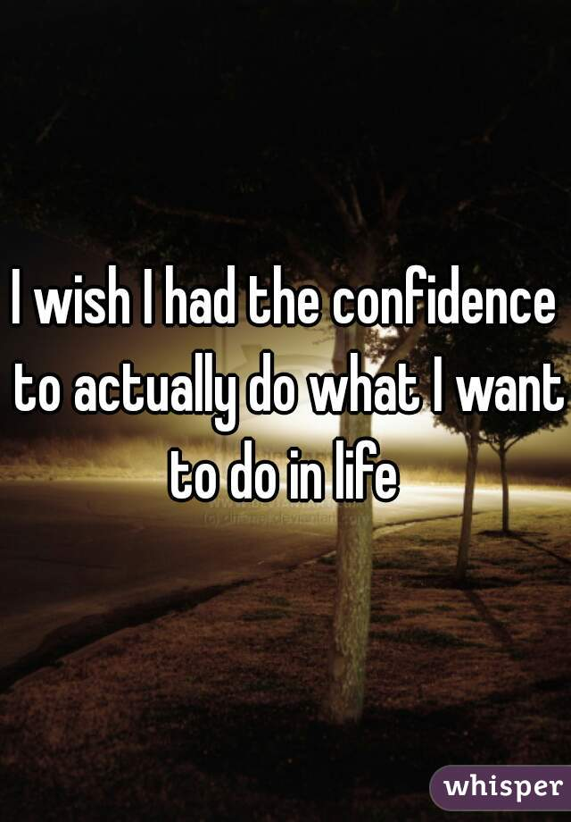 I wish I had the confidence to actually do what I want to do in life