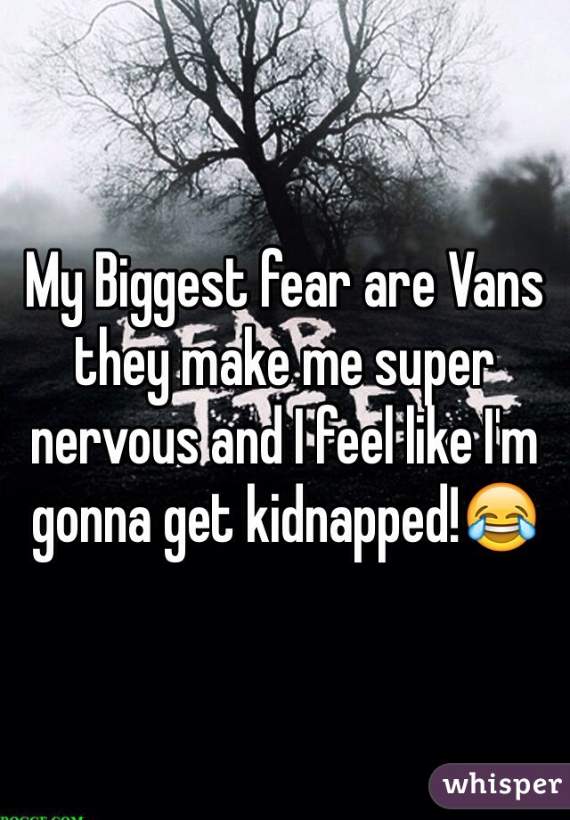 My Biggest fear are Vans they make me super nervous and I feel like I'm gonna get kidnapped!😂