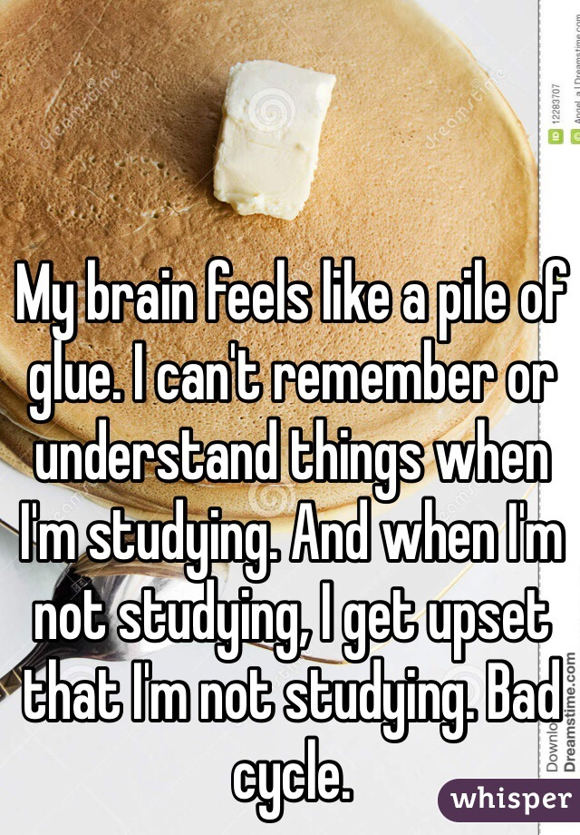 My brain feels like a pile of glue. I can't remember or understand things when I'm studying. And when I'm not studying, I get upset that I'm not studying. Bad cycle.