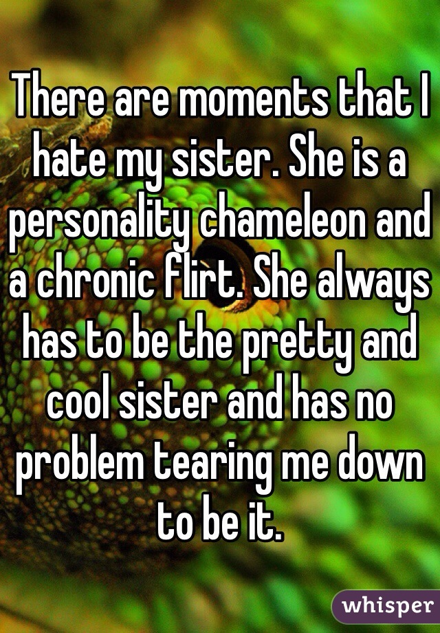 There are moments that I hate my sister. She is a personality chameleon and a chronic flirt. She always has to be the pretty and cool sister and has no problem tearing me down to be it.