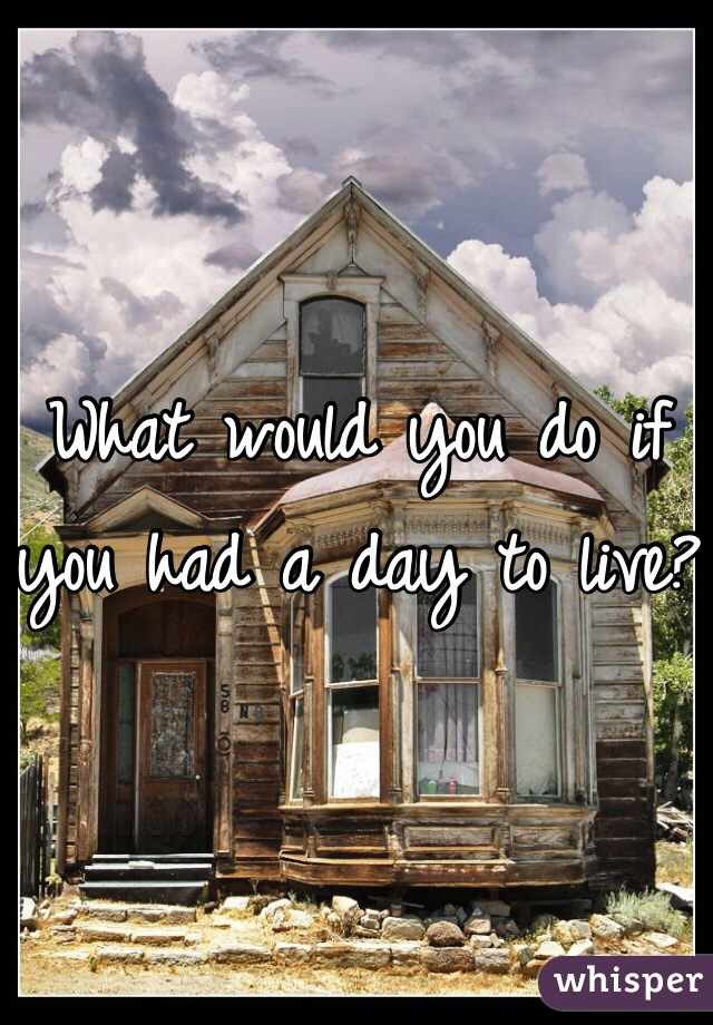What would you do if you had a day to live?