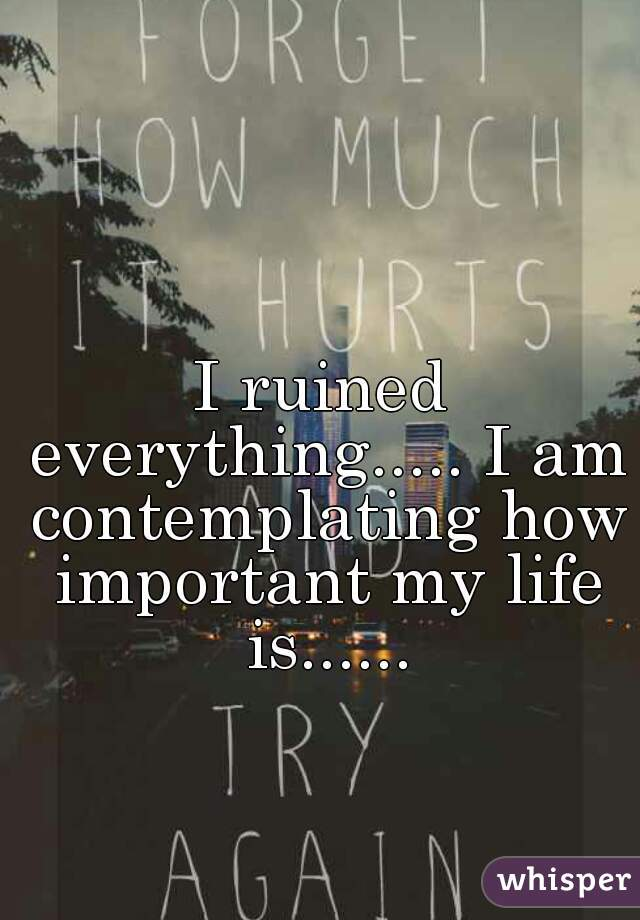 I ruined everything..... I am contemplating how important my life is......