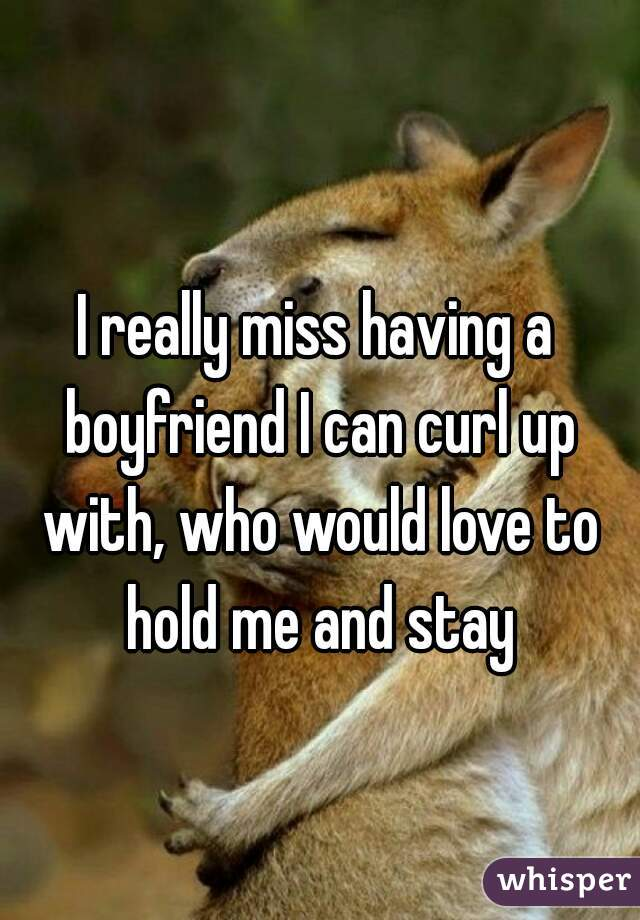I really miss having a boyfriend I can curl up with, who would love to hold me and stay