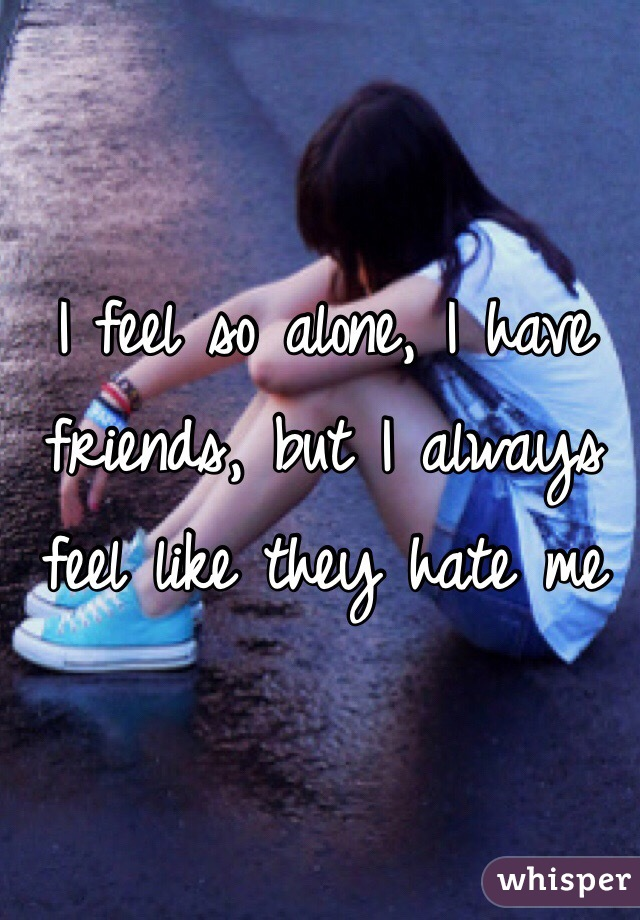 I feel so alone, I have friends, but I always feel like they hate me