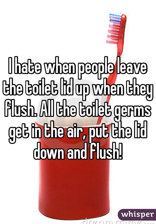 I hate when people leave the toilet lid up when they flush. All the toilet germs get in the air, put the lid down and flush!