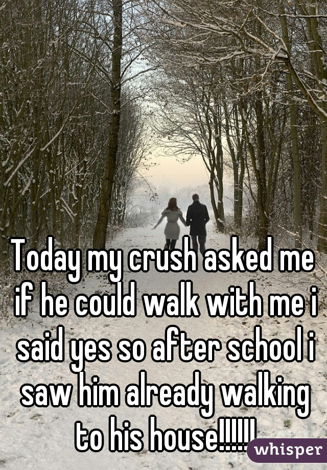Today my crush asked me if he could walk with me i said yes so after school i saw him already walking to his house!!!!!!