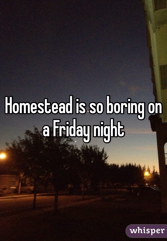 Homestead is so boring on a Friday night