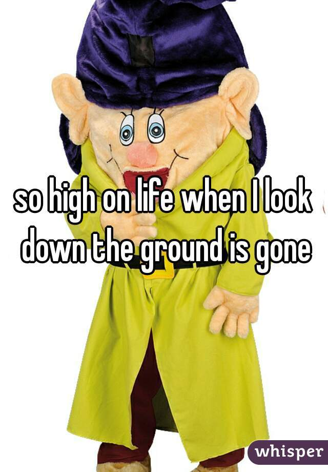 so high on life when I look down the ground is gone