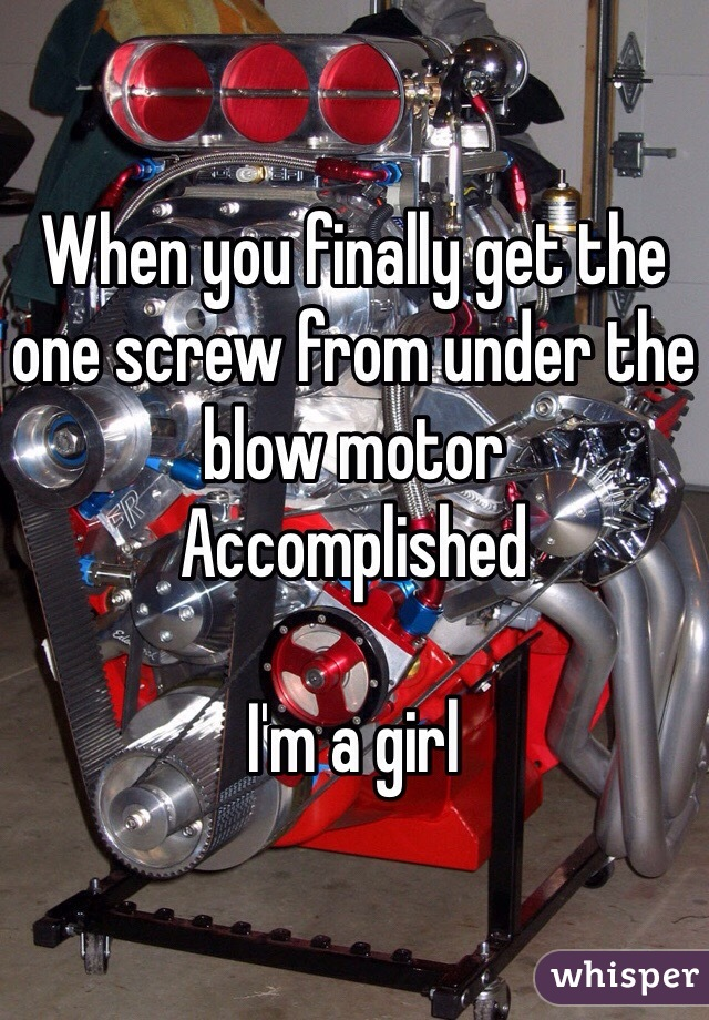 When you finally get the one screw from under the blow motor  Accomplished  I'm a girl