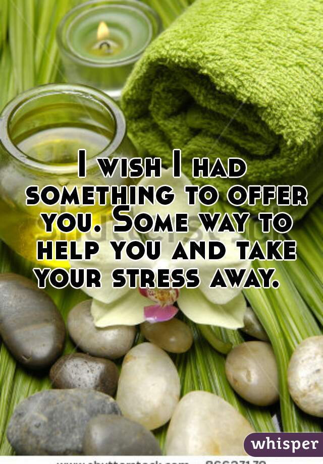 I wish I had something to offer you. Some way to help you and take your stress away.