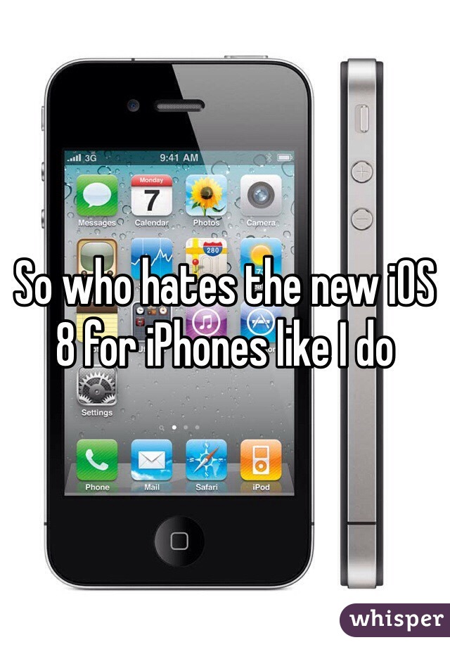 So who hates the new iOS 8 for iPhones like I do