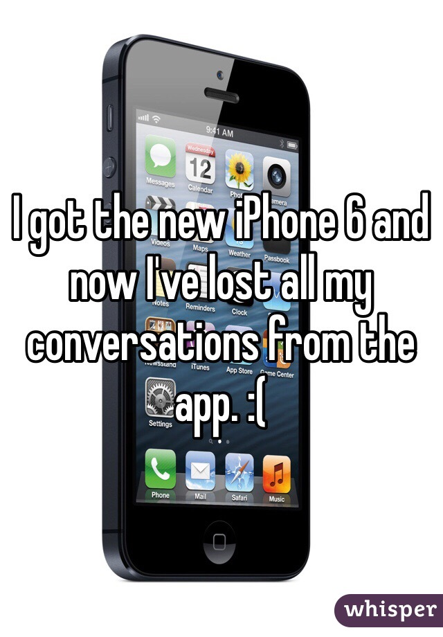 I got the new iPhone 6 and now I've lost all my conversations from the app. :(