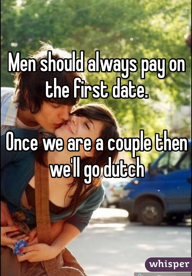 Men should always pay on the first date.   Once we are a couple then we'll go dutch