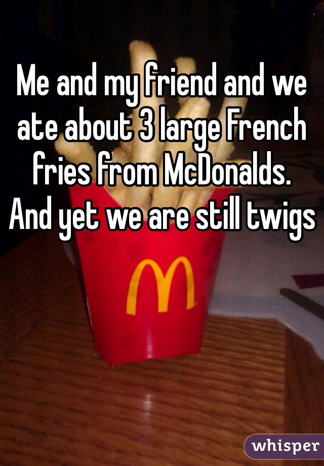 Me and my friend and we ate about 3 large French fries from McDonalds. And yet we are still twigs