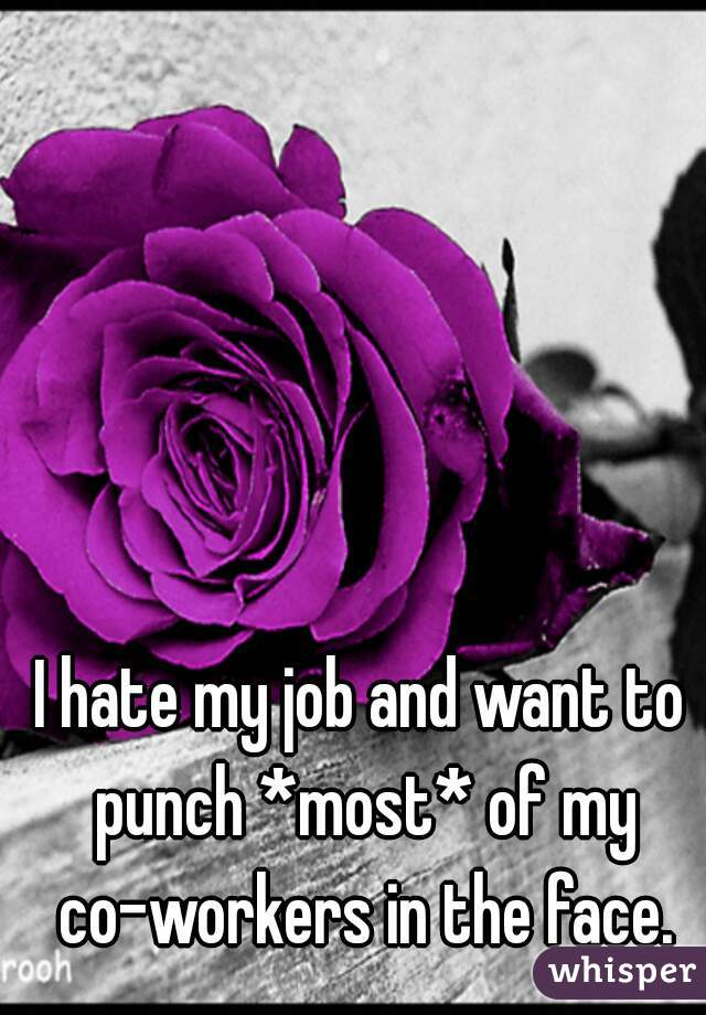 I hate my job and want to punch *most* of my co-workers in the face.