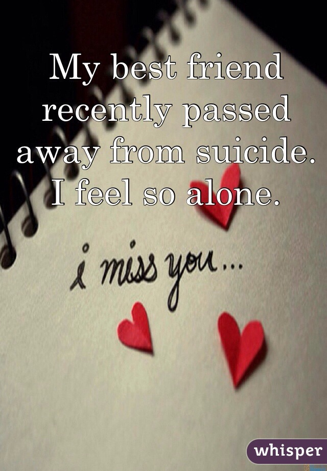 My best friend recently passed away from suicide. I feel so alone.