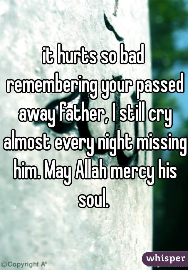 it hurts so bad remembering your passed away father, I still cry almost every night missing him. May Allah mercy his soul.