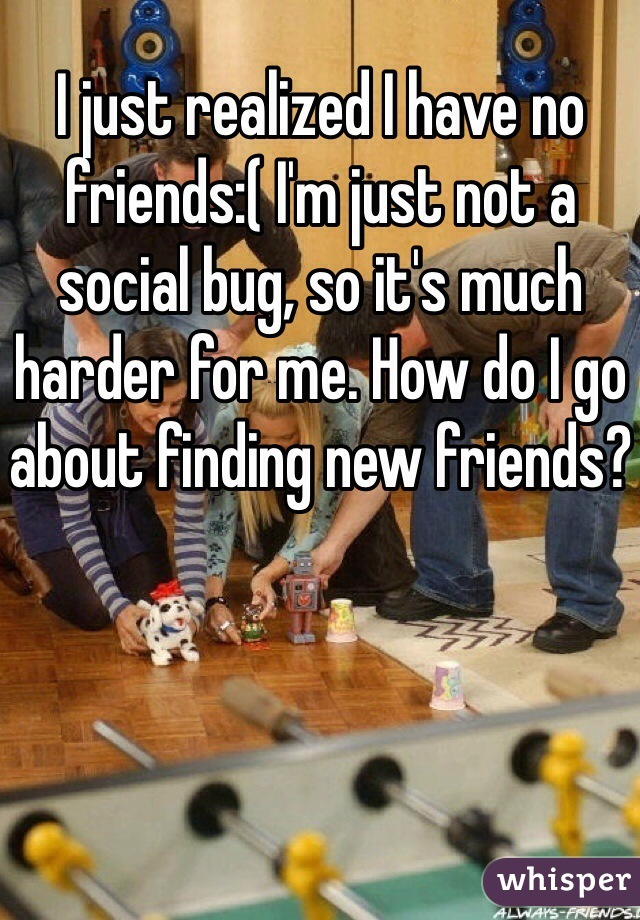 I just realized I have no friends:( I'm just not a social bug, so it's much harder for me. How do I go about finding new friends?
