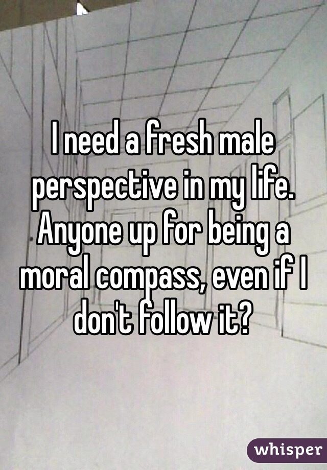 I need a fresh male perspective in my life. Anyone up for being a moral compass, even if I don't follow it?