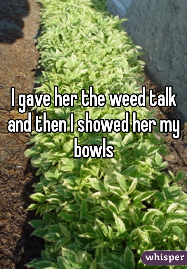 I gave her the weed talk and then I showed her my bowls