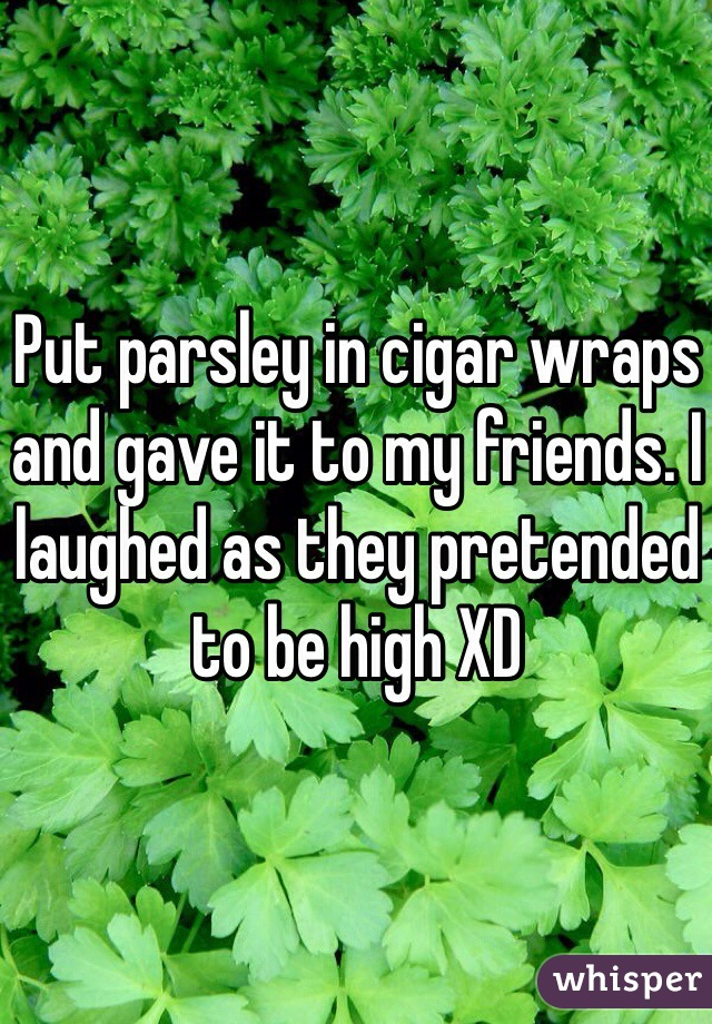Put parsley in cigar wraps and gave it to my friends. I laughed as they pretended to be high XD