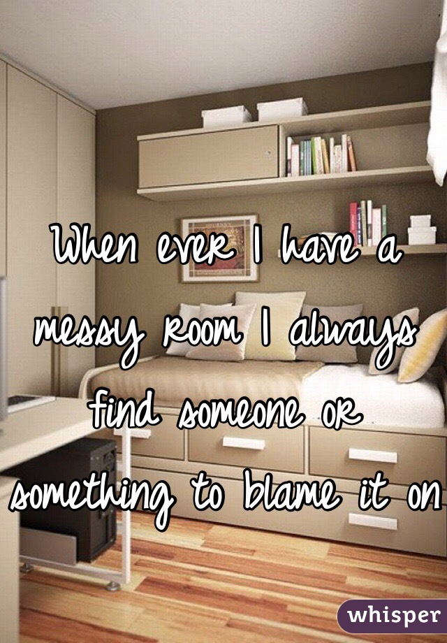 When ever I have a messy room I always find someone or something to blame it on
