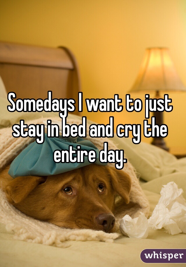 Somedays I want to just stay in bed and cry the entire day.
