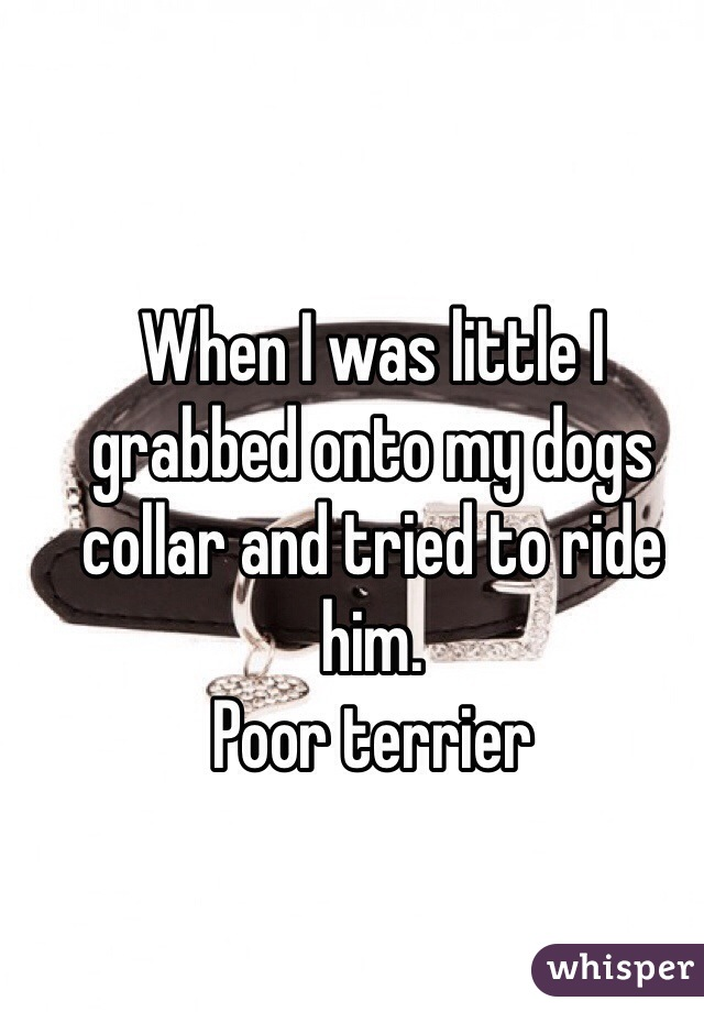When I was little I grabbed onto my dogs collar and tried to ride him.  Poor terrier