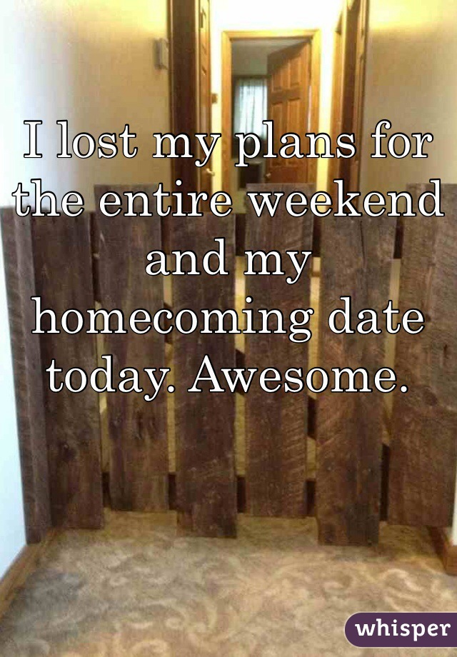 I lost my plans for the entire weekend and my homecoming date today. Awesome.