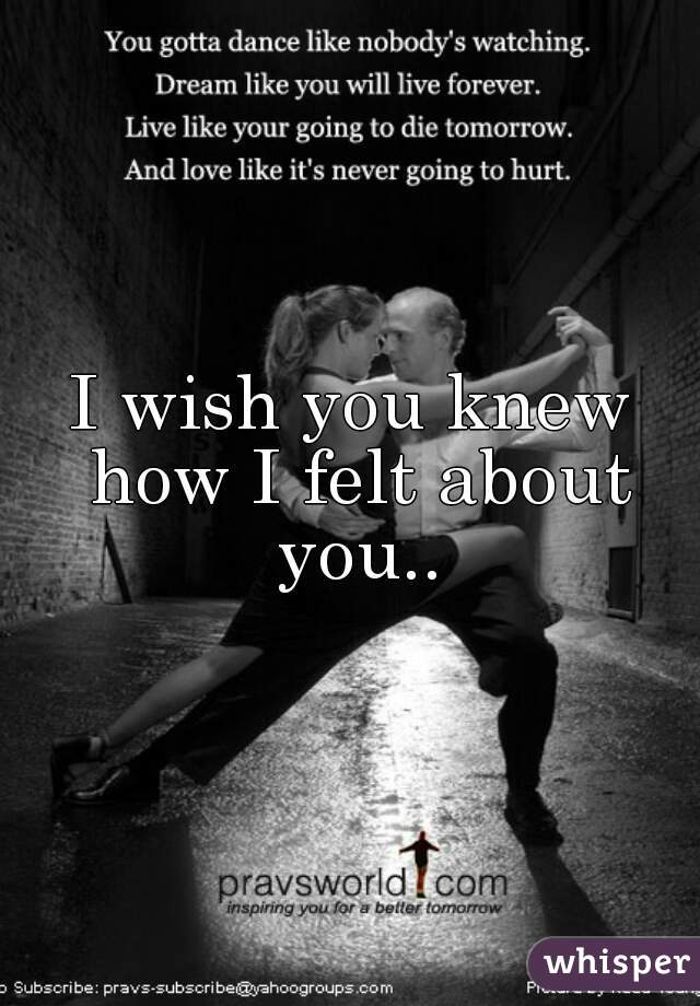 I wish you knew how I felt about you..