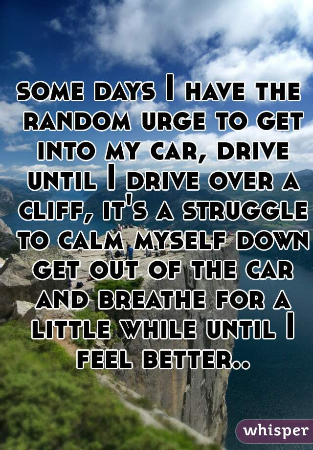 some days I have the random urge to get into my car, drive until I drive over a cliff, it's a struggle to calm myself down get out of the car and breathe for a little while until I feel better..