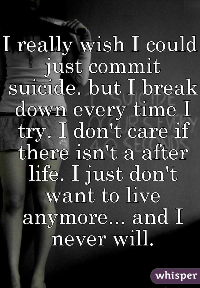 I really wish I could just commit suicide. but I break down every time I try. I don't care if there isn't a after life. I just don't want to live anymore... and I never will.