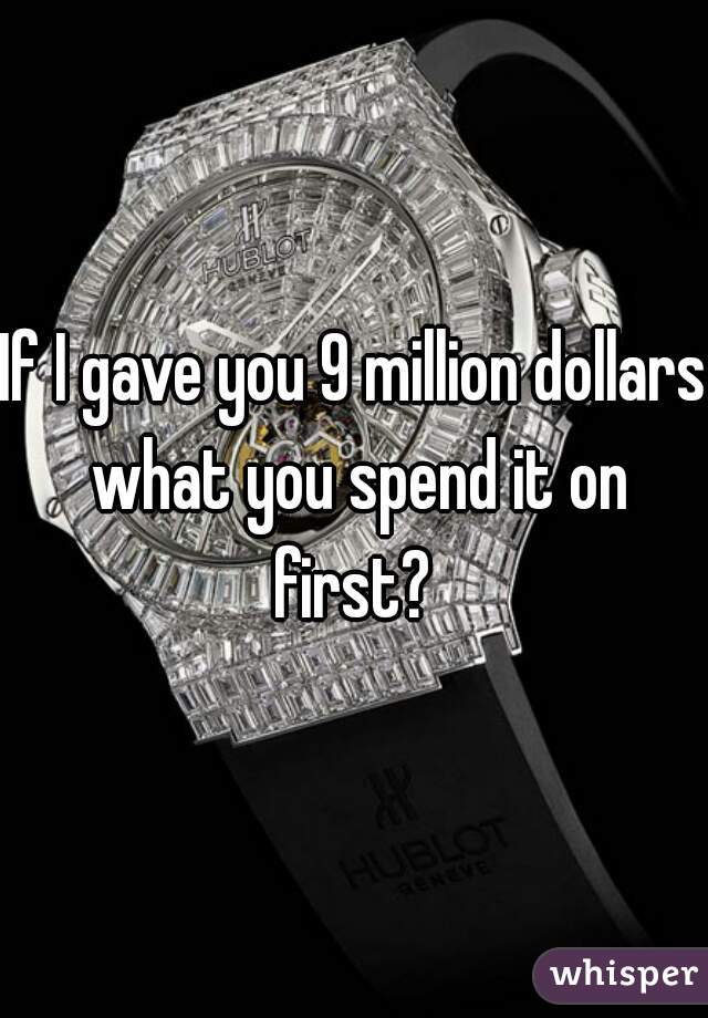 If I gave you 9 million dollars what you spend it on first?