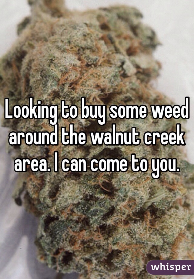 Looking to buy some weed around the walnut creek area. I can come to you.