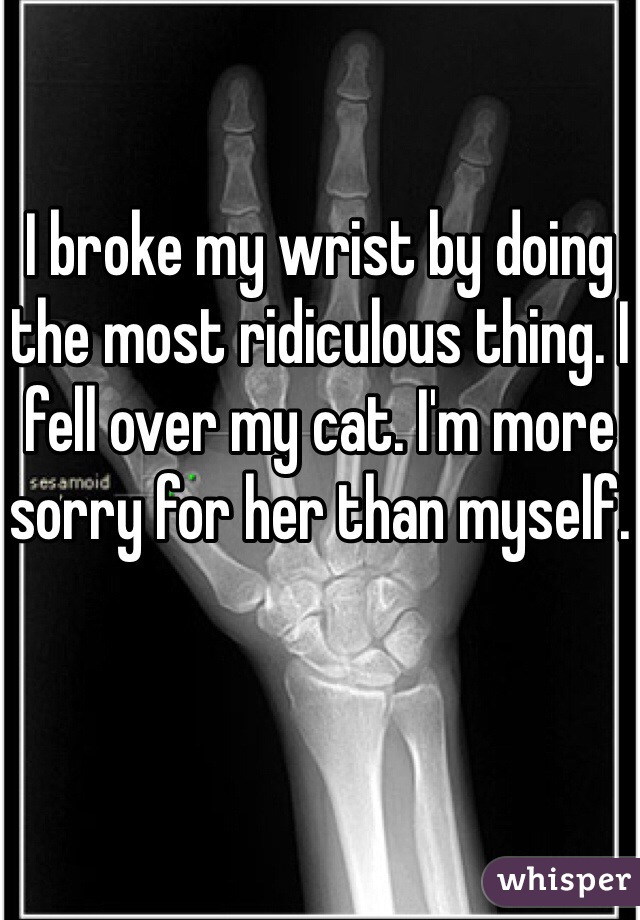 I broke my wrist by doing the most ridiculous thing. I fell over my cat. I'm more sorry for her than myself.