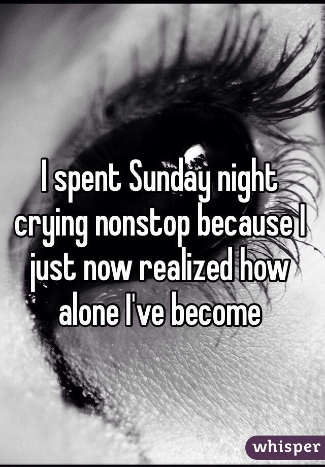 I spent Sunday night crying nonstop because I just now realized how alone I've become