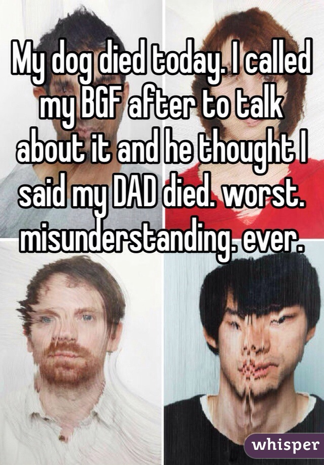 My dog died today. I called my BGF after to talk about it and he thought I said my DAD died. worst. misunderstanding. ever.