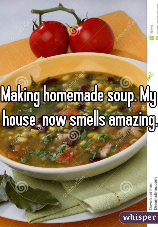 Making homemade soup. My house  now smells amazing.
