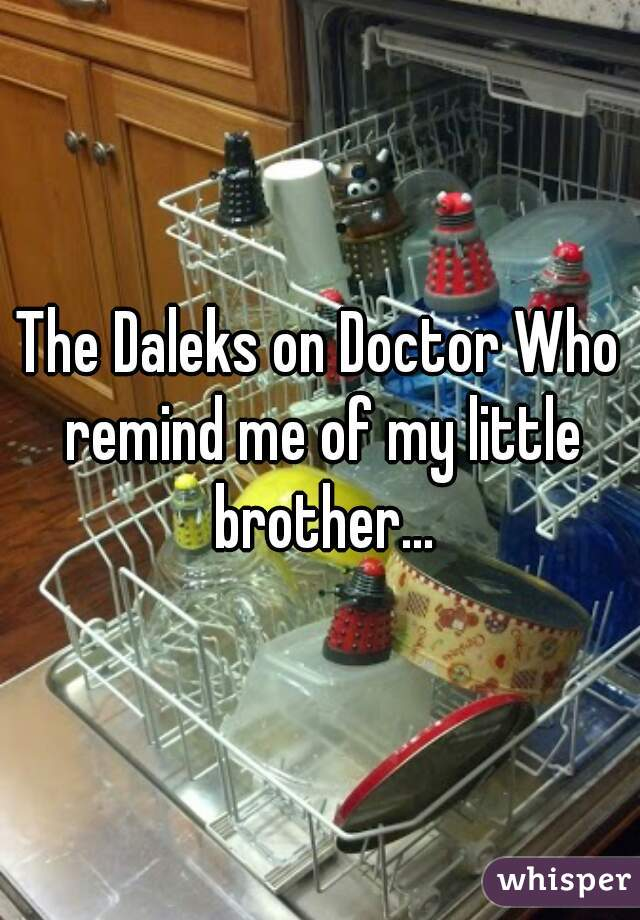 The Daleks on Doctor Who remind me of my little brother...