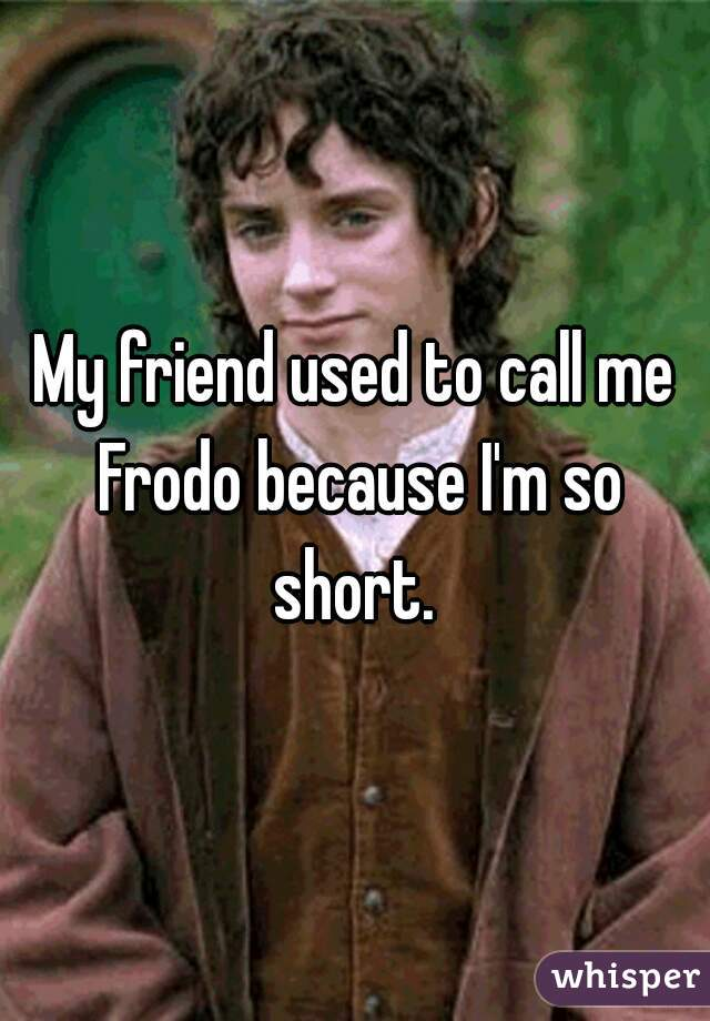 My friend used to call me Frodo because I'm so short.