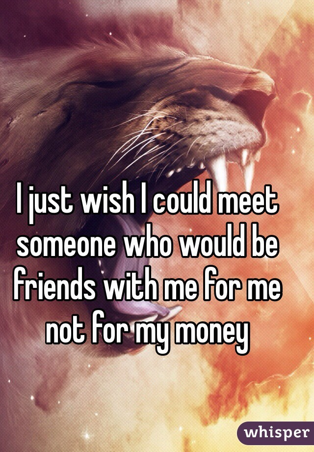 I just wish I could meet someone who would be friends with me for me not for my money