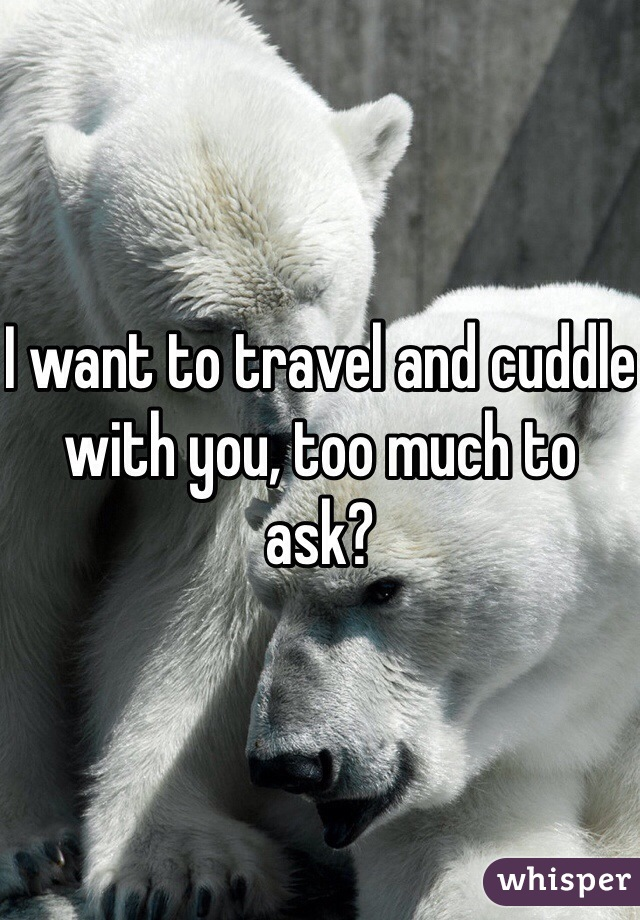 I want to travel and cuddle with you, too much to ask?