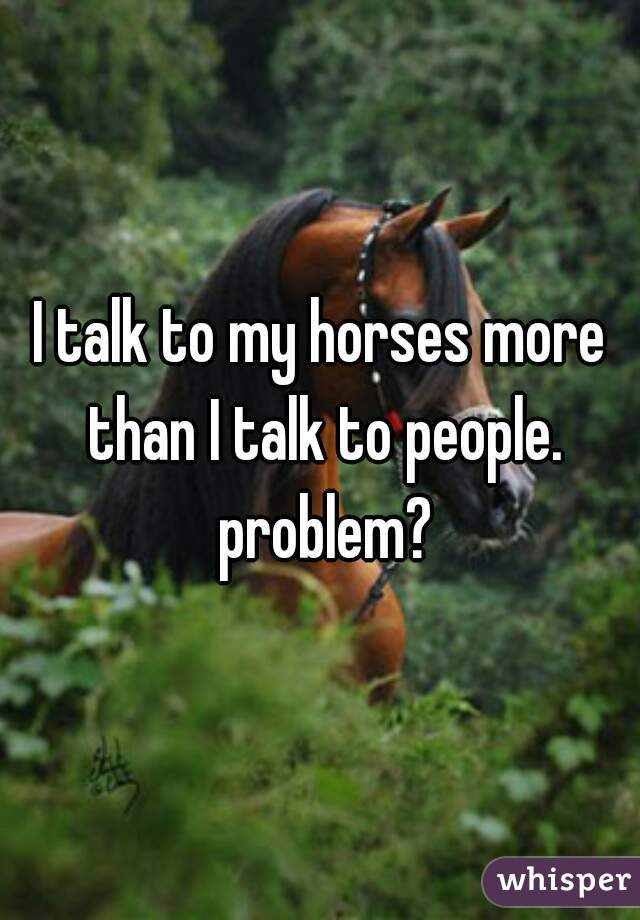 I talk to my horses more than I talk to people. problem?