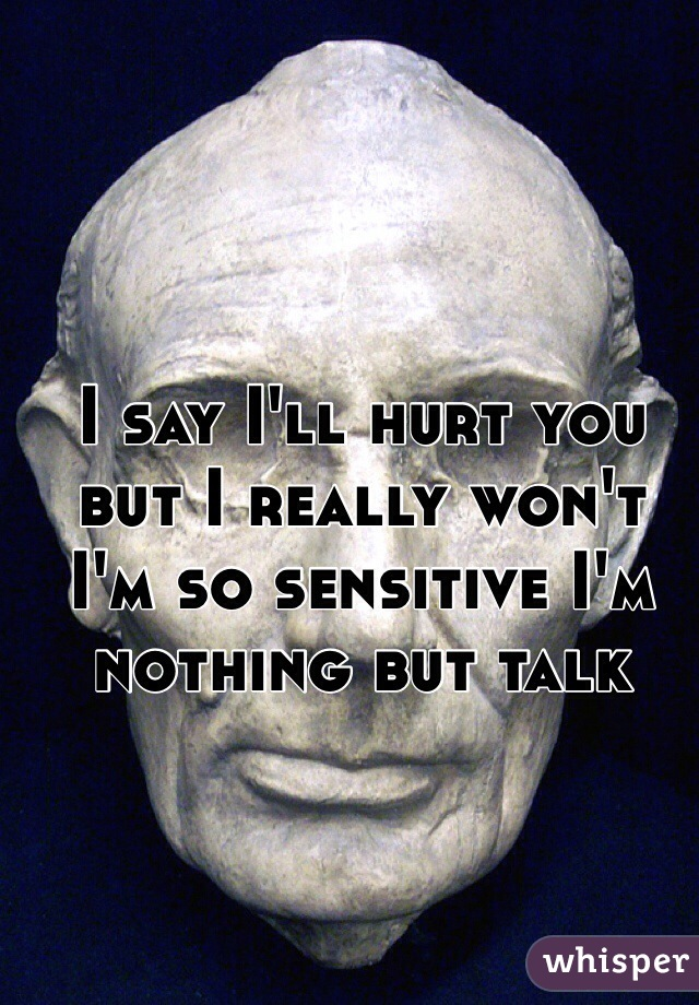 I say I'll hurt you but I really won't I'm so sensitive I'm nothing but talk